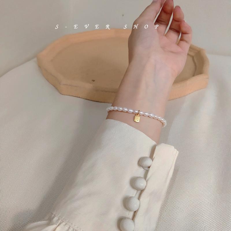 小众设计简约温婉 天然淡水小珍珠手链福牌  EVER ins