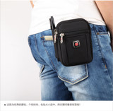Swiss army knife men's pockets multi-function outdoor sports phone bag small pockets men's canvas hanging bag coin purse bag