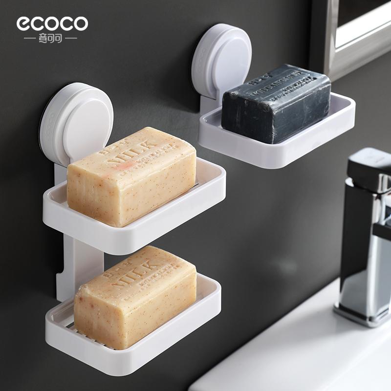 肥皂盒吸盘壁挂式家用免钉双层香皂盒创意沥水免打孔卫生间置物架