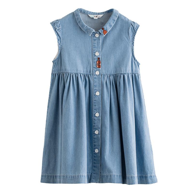 茵曼童装女童连衣裙新款夏装无袖背心中大童连衣裙牛仔儿童裙