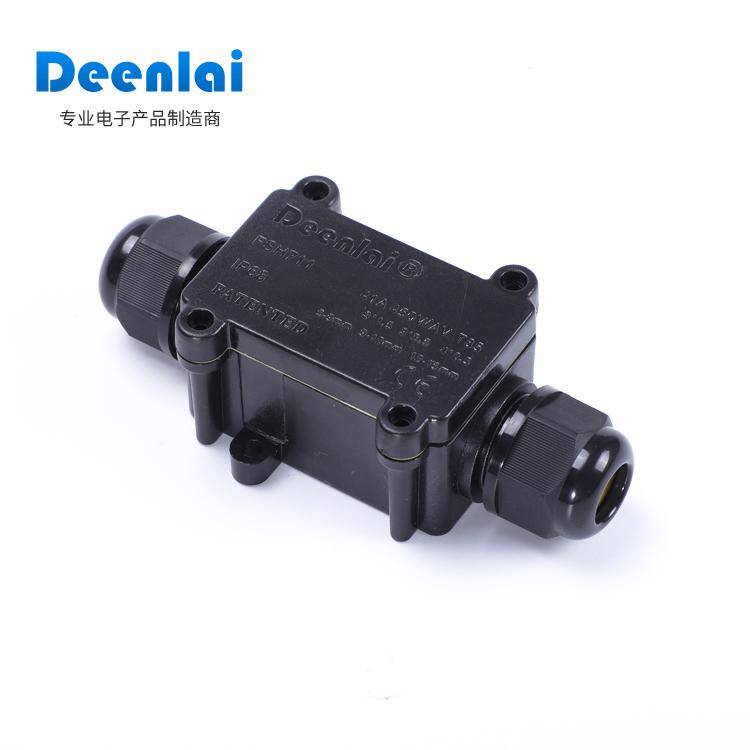 防水接线盒带端子Deenlai FSH711IP68一进一出户外塑料接线端子盒
