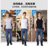 3 pieces Langsha men's vest cotton youth breathable summer loose sweatshirt hurdle sling white sports base