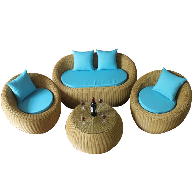 户外休闲阳台藤制沙发藤编花园桌椅圆藤沙发藤制沙发三五件套组合