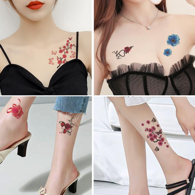 彼岸花樱花纹身贴纸防水女持久网红款遮疤痕脚踝性感锁骨小清新贴