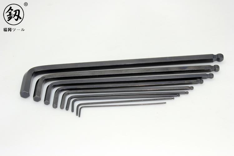 釰 日本福冈工具 单支球头内六角扳手 平头发黑特长 L型 进口技术