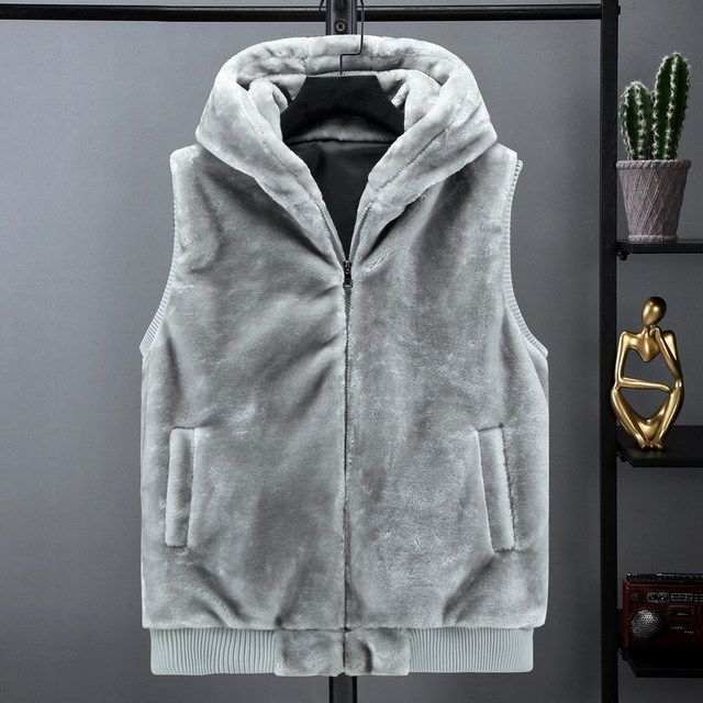Autumn and winter young fur lovers Hooded Vest Plush vest men's mink like cardigan jacket
