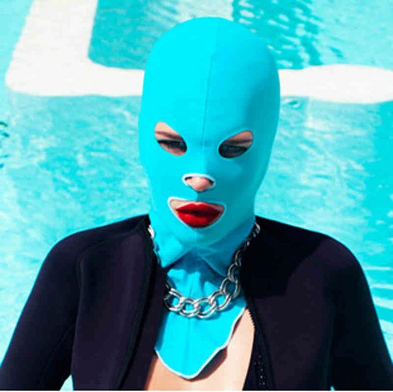 新款舒適泳帽透氣速干時尚防晒臉基尼彈性頭套面罩防水母游泳用品