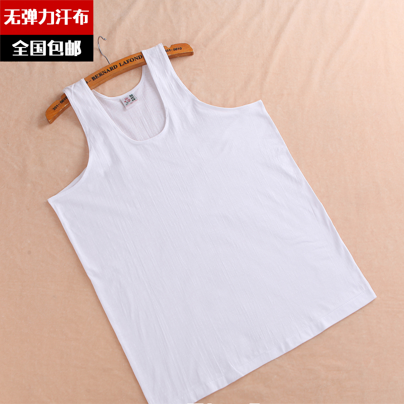 中老年人男士跨栏背心夏季纯棉打底老头衫宽松圆领白短袖全棉汗衫