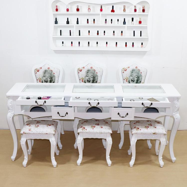 新品简约现代双层玻璃美甲桌椅套装经济型单双三人靠背椅凳美甲台