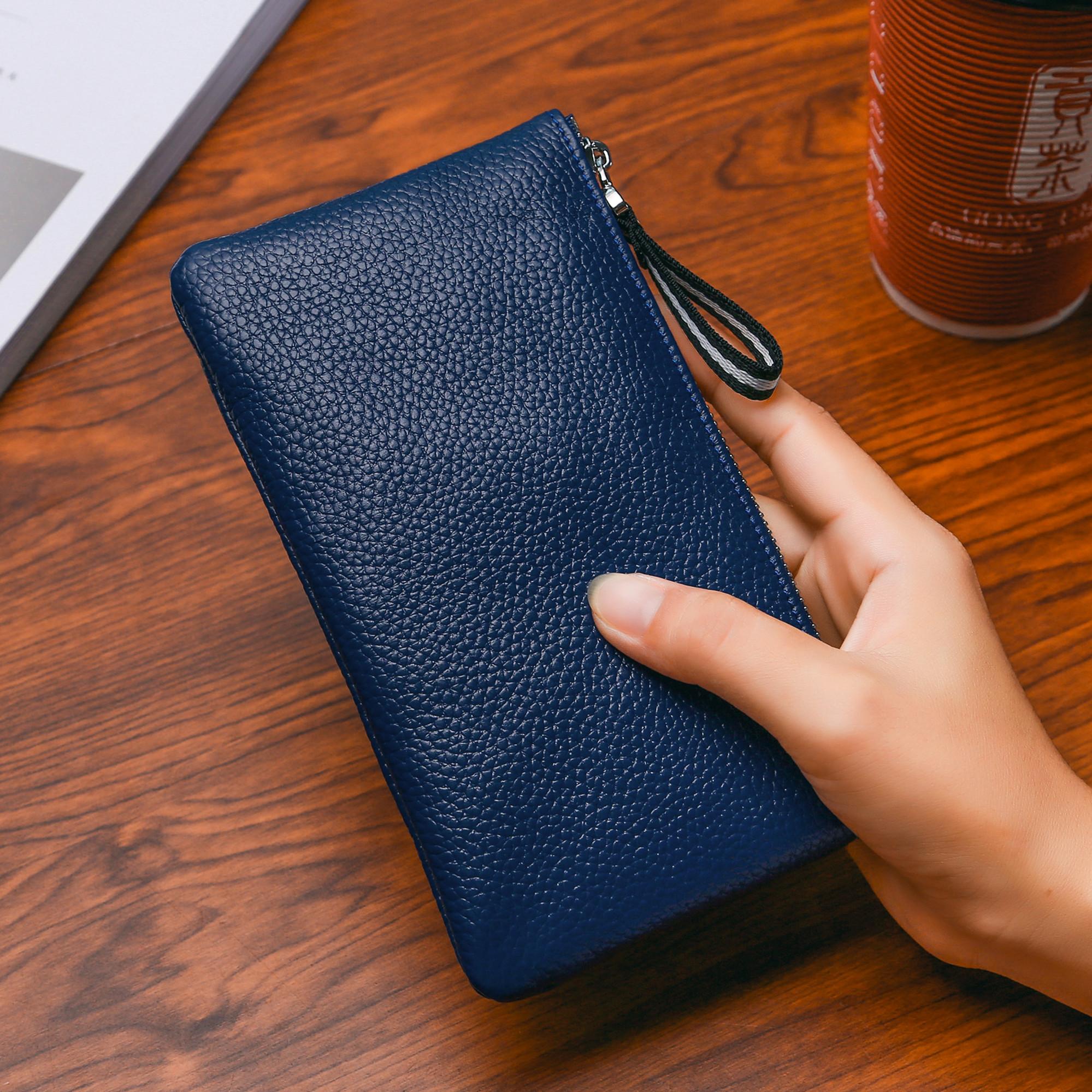 头层牛皮长款女士钱包真皮手包手机钱夹超薄拉链手拿卡包零钱包男