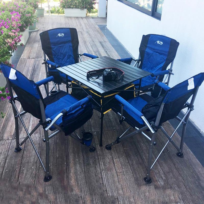 戶外桌椅套裝自駕遊野外摺疊桌椅沙灘戶外休閒桌椅一桌四椅包郵