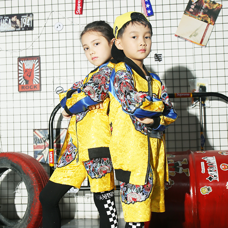 少儿表演服装 hiphop 儿童演出服街舞套装爵士舞男女中国风龙袍嘻哈