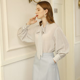 MDdesign blue chiffon long sleeve shirt female temperament strap chiffon shirt 2020 spring and summer new 13637