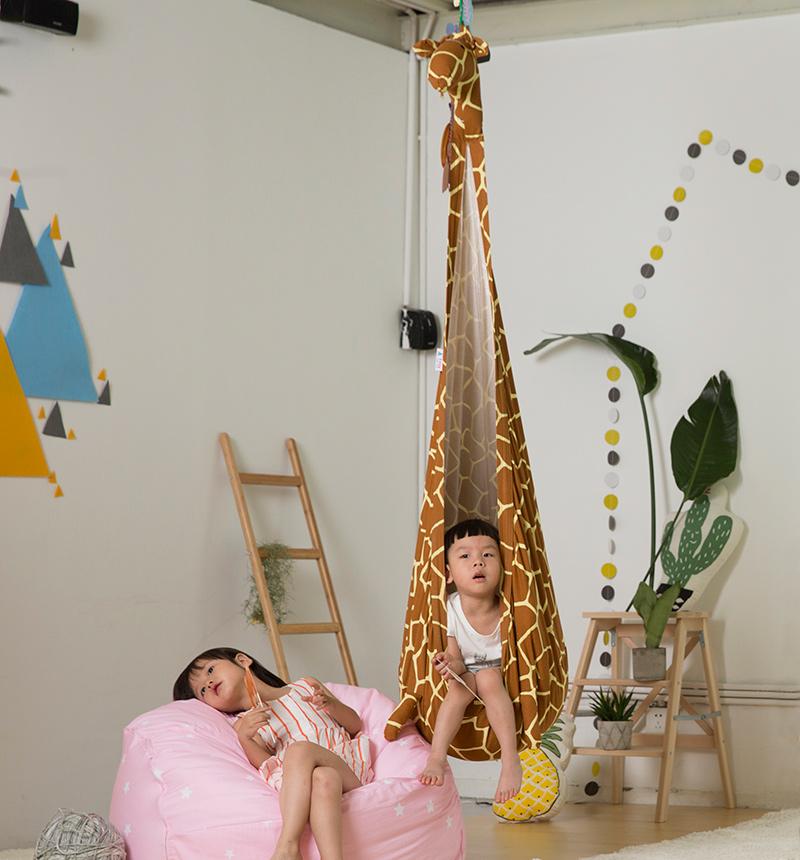 爱升卡通儿童秋千小孩室内户外悬挂布袋吊篮宝宝家用吊床阳台吊椅