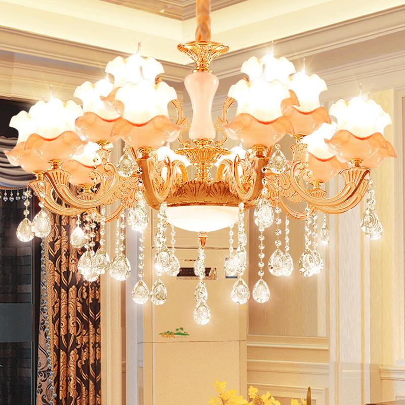 大厅大气简欧灯具 led 锌合金玉石水晶吊灯奢华客厅灯欧式现代卧室