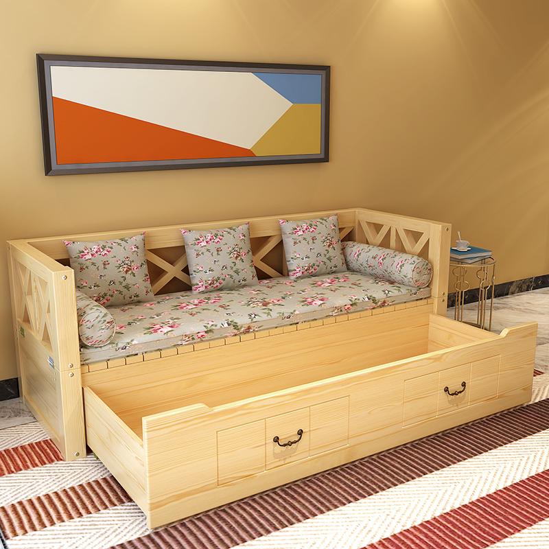 米推拉两用客厅储物沙发床实木 1.51.2 沙发床伸缩床抽拉床沙发床