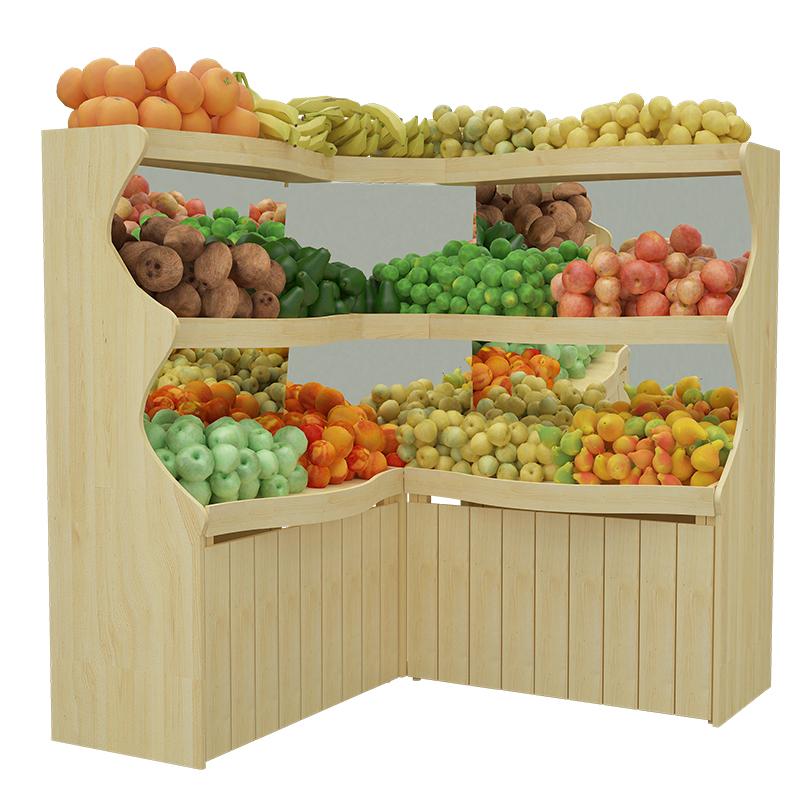 水果店货架木质三层水果货架波浪形百果园高档果蔬钢木制展示架子