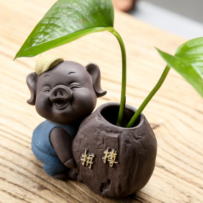 可爱小茶宠 猪花器水培 花插茶玩家居装饰品创意笔桶萌物迷你摆件