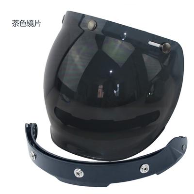 摩托车头盔镜片复古哈雷盔半盔飞行盔通用三扣式泡泡镜带架可翻动