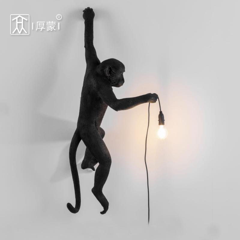 吊灯台灯壁灯 北欧创意工业风麻绳动物猴子灯客厅餐厅卧室服装店