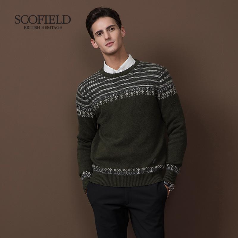 SCOFIELD秋冬毛衣男士拼接提花羊毛衫休闲舒适套头针织衫