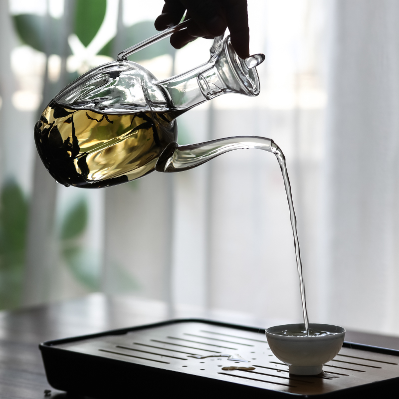 玻璃执壶仿宋瓜棱壶网红贵妃壶玻璃壶耐高温茶壶创意仿古水壶套装