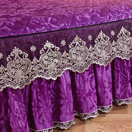 欧式蕾丝边夹棉加厚床裙式单件冬天加绒床罩短毛天鹅绒床套1.8米