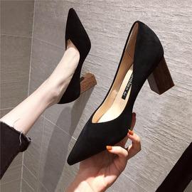 2020春秋季法式高跟鞋女粗跟尖头黑色网红百搭新款小清新少女单鞋