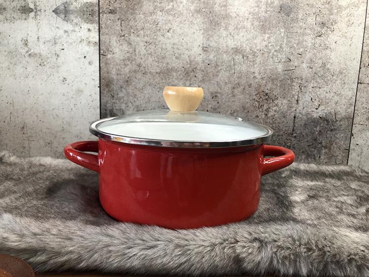 出口日本紅3.1l搪瓷鍋正品20~24cm雙耳鍋湯鍋燉鍋燒鍋電磁爐煤氣