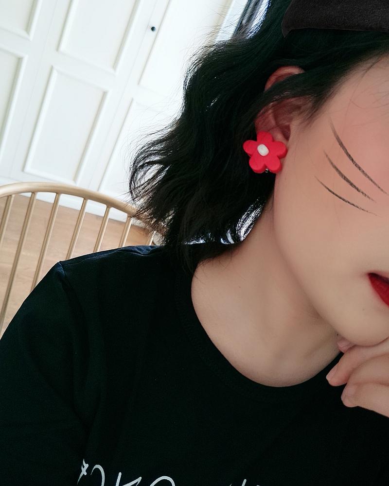 泫雅风软陶彩色花朵耳环网红土味韩版气质太阳花耳钉可爱甜美耳饰
