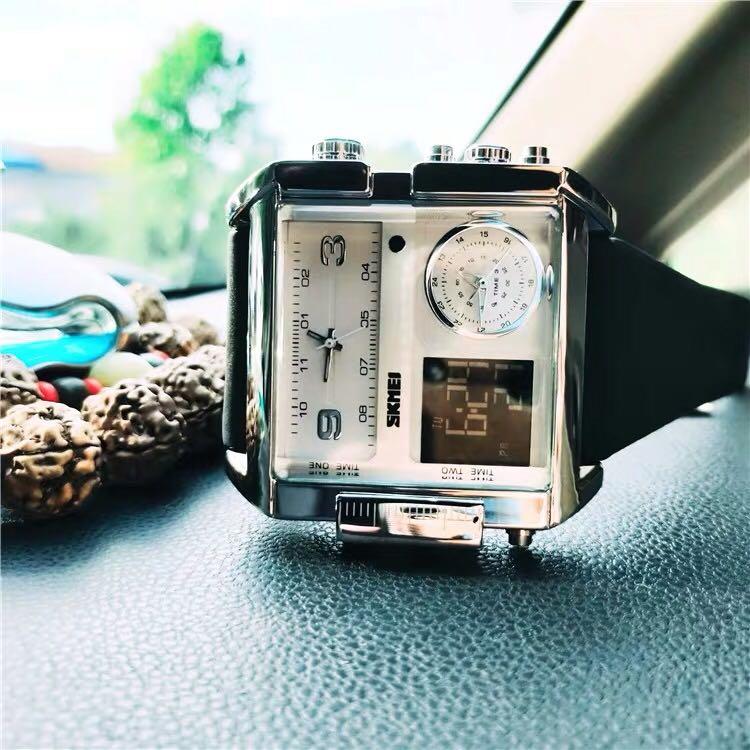 欧美方形大表盘手表男士夜光计时防水多功能腕表新款时尚潮流男表