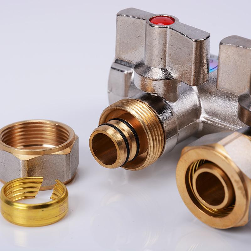 厂家直销 上海中财 地暖分水器 全铜镀镍一体式连体分集水器 包邮