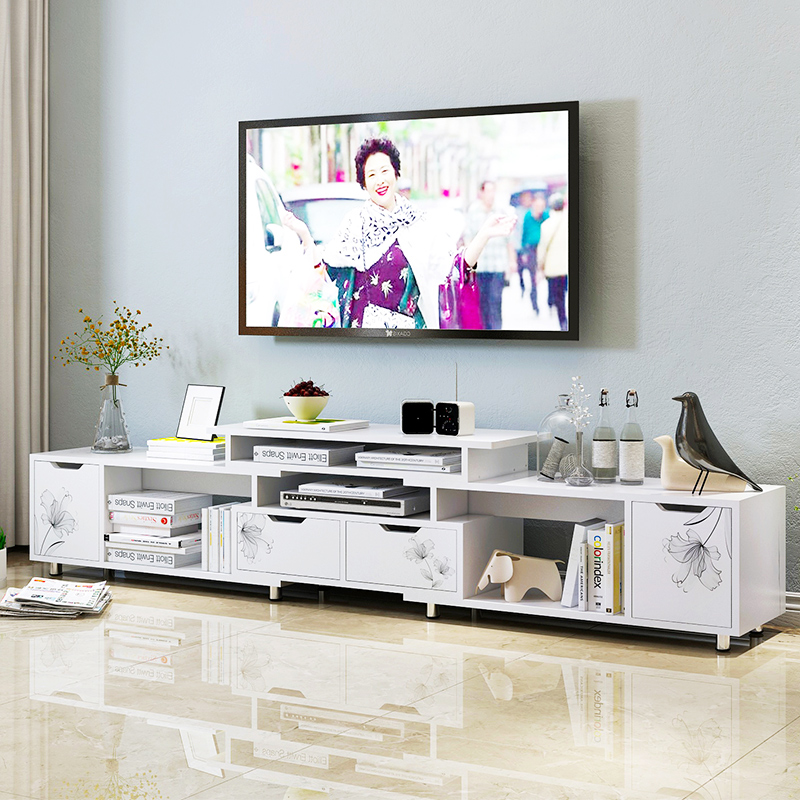 亿家达电视柜茶几组合简约现代伸缩电视机柜客厅钢化玻璃茶几套装