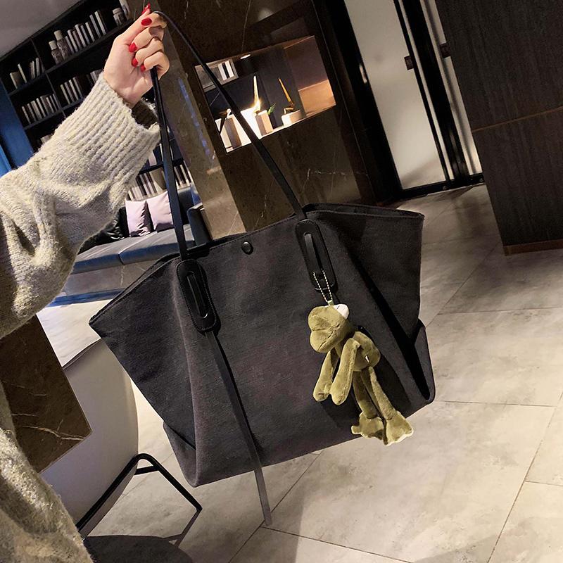 大容量包包女2019新款韩版时尚休闲帆布单肩包洋气百搭斜挎托特包