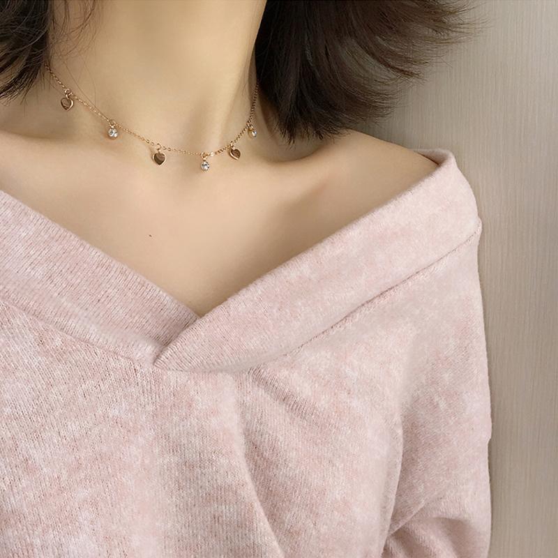 项链女韩版简约小圆珠学生森系锁骨链短款颈带网红冷淡风饰品671