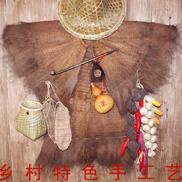 蓑衣斗笠帽古风民俗老物件装饰草鞋鱼篓棕衣或穿农家乐装饰道具