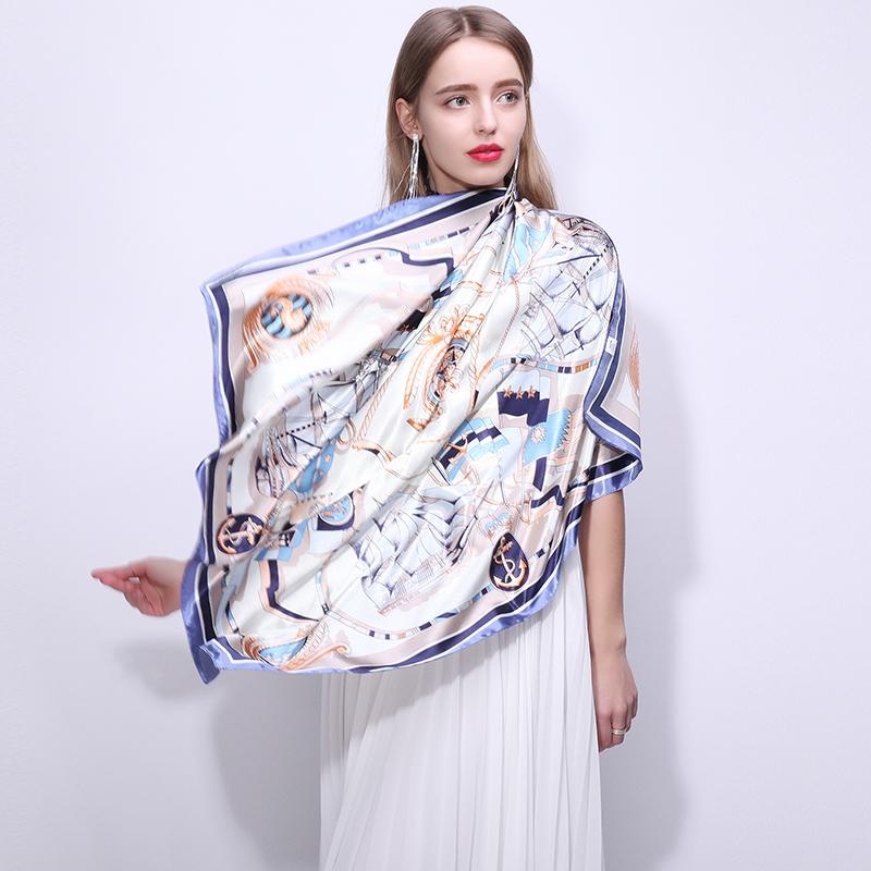 上海故事丝巾女秋款洋气时尚冬季方丝巾百搭大方巾90x90cm礼盒装