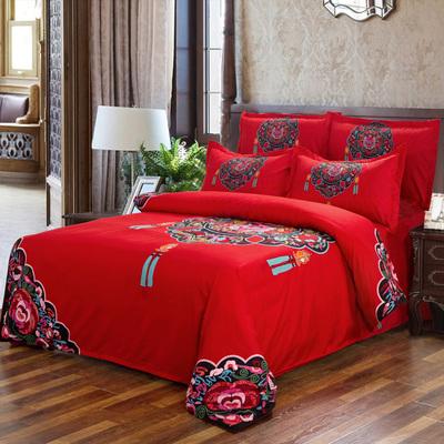 全棉婚庆床上四件套结婚大红卡通秋冬纯棉被套床单1.5m/1.8m/2.0m