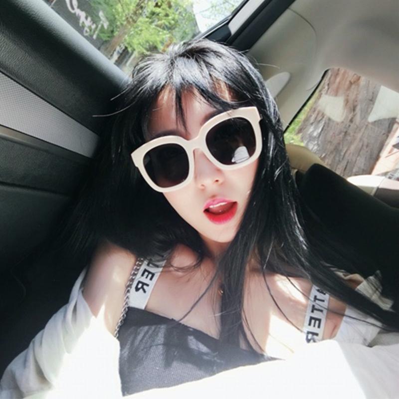 方形大框墨镜白色韩版潮流复古太阳镜女圆脸防晒防紫外线