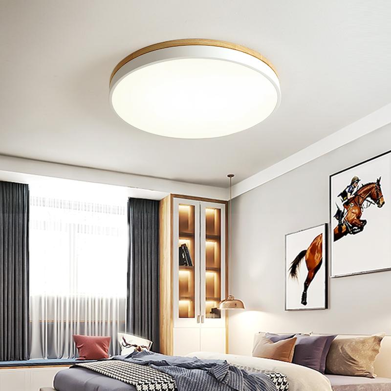 卧室吸顶灯原木现代简约超薄客厅几何书房圆形阳台灯 led 北欧风格