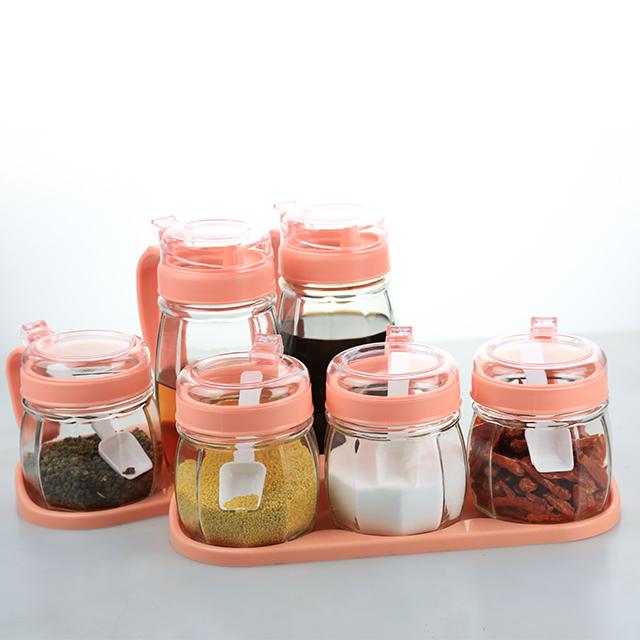厨房用品玻璃调料盒盐罐调味罐家用佐料瓶收纳盒组合装调味瓶套装