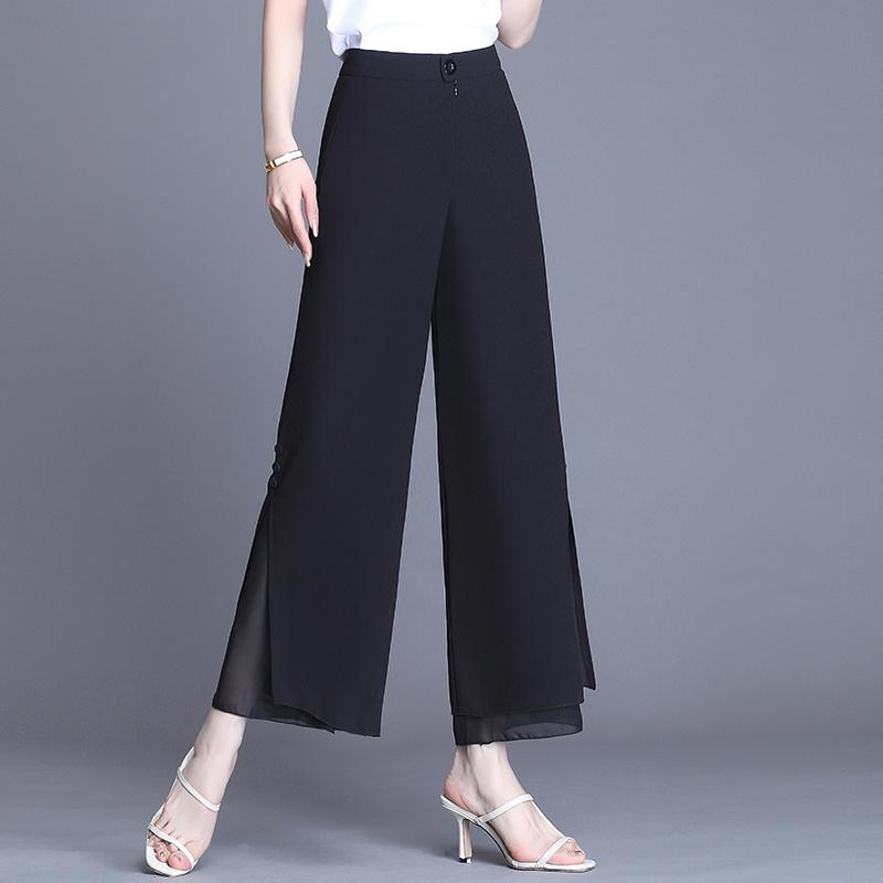 开叉阔腿裤女夏季薄款2021新款高腰黑色宽松显瘦雪纺九分直筒裤子
