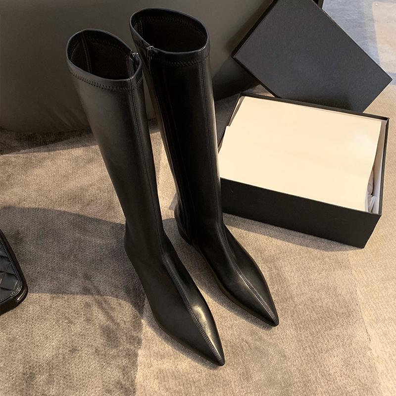 鞋匠女王白色长靴女不过膝尖头粗跟弹力中跟加绒高筒长筒骑士靴子