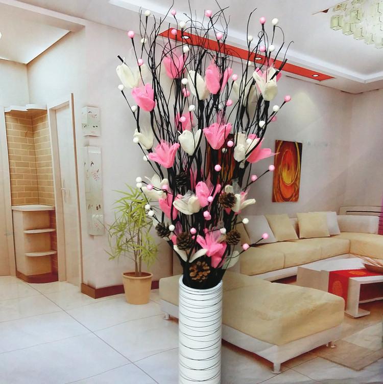 叶脉干花客厅落地假花仿真干枝插花干花大