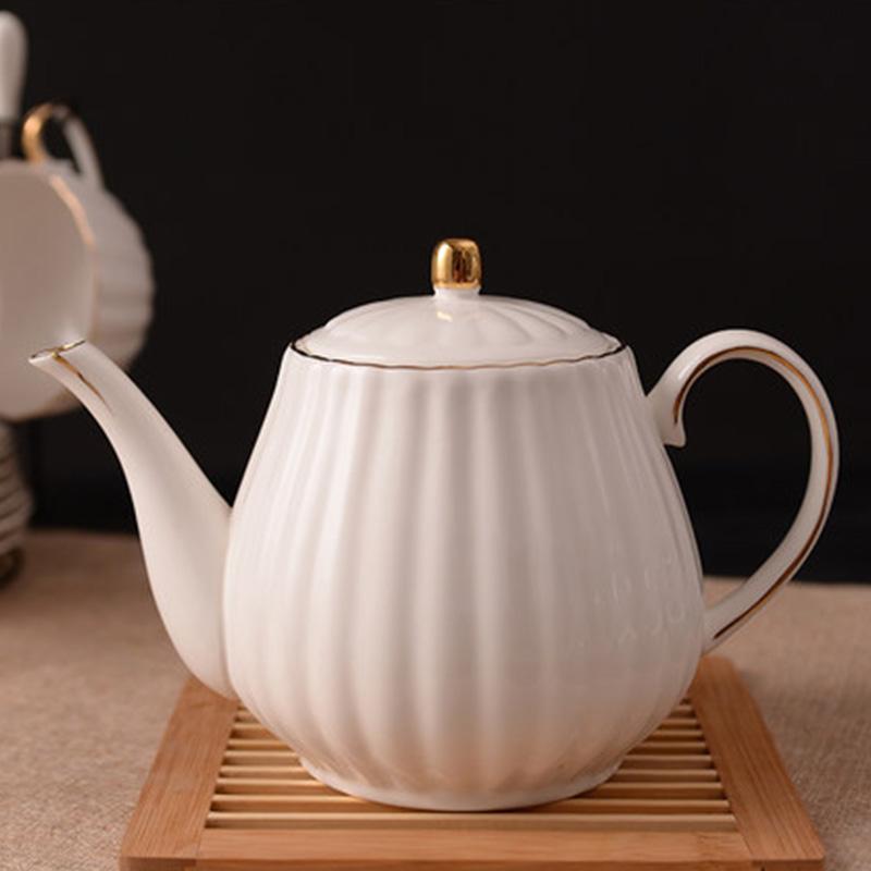 欧式南瓜骨瓷金边糖缸带盖英式茶具方糖罐子陶瓷白砂糖咖啡壶家用