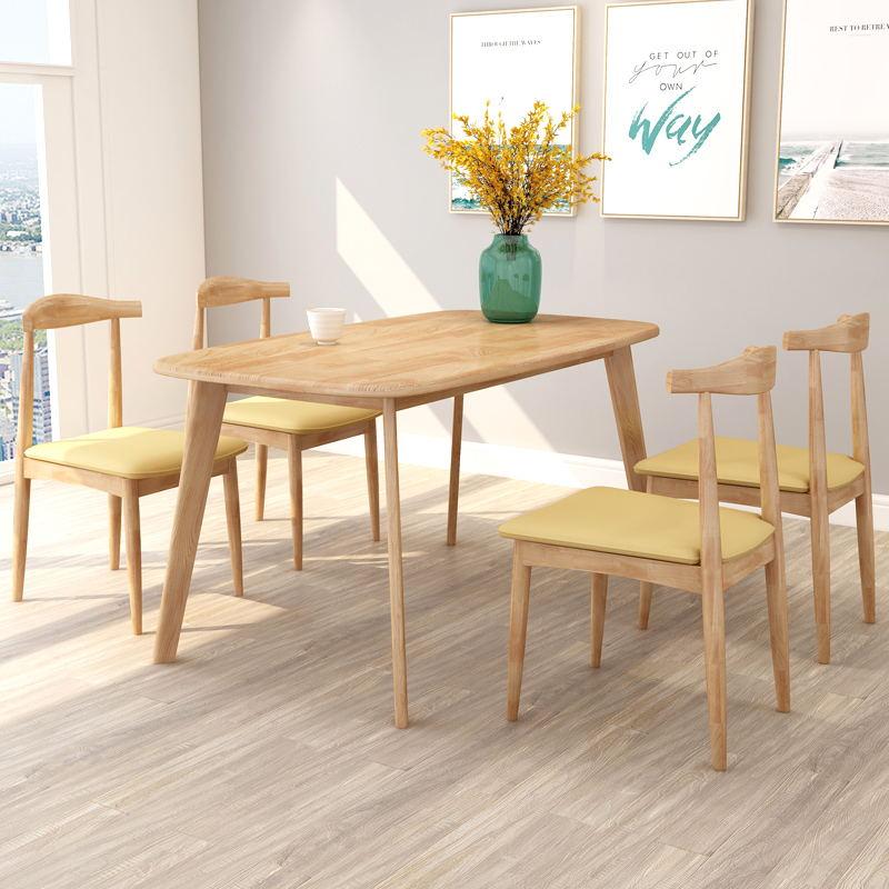 餐桌椅组合小户型北欧全实木日式现代简约1.2米长方形家用4人吃饭