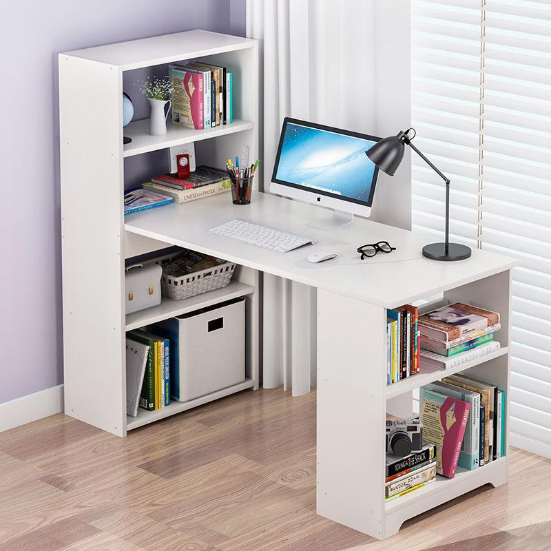 新疆百货哥简易电脑桌台式桌家用转角书柜一体组合简约学生书桌