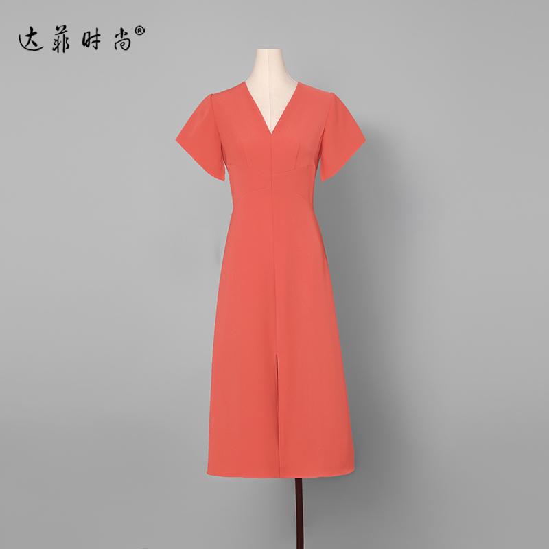 夏装2019新款女装红色性感长裙气质修身裙子短袖显瘦中长款连衣裙