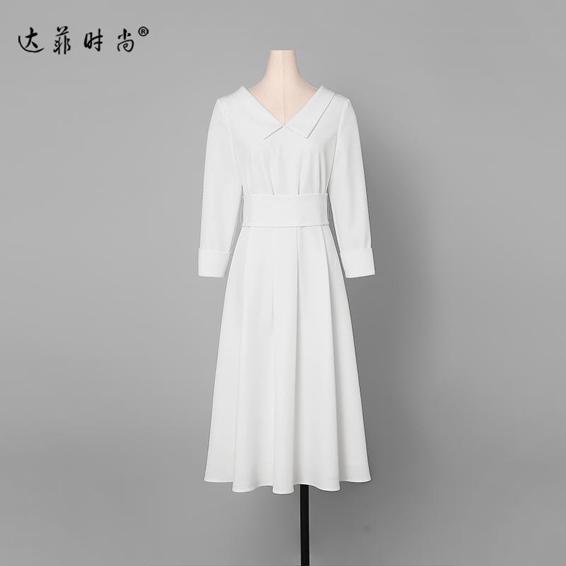 白色复古长裙气质名媛收腰裙子显瘦中长款连衣裙女装春装2019新款