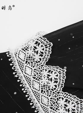 夏季2021新款女装黑色雪纺长裙气质收腰显瘦中长款波点连衣裙